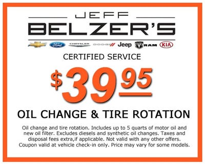 Oil Change Coupons Mn >> Service Parts Specials Jeff Belzer S Specials Lakeville New